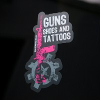 AT Guns Shoes and Tattoos Sticker